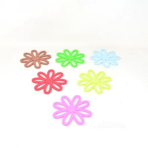 6 Sottobicchieri Colorati In Silicone A Forma Di Fiore
