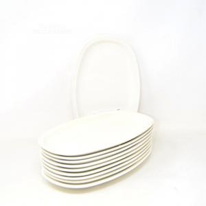10 Piatti In Ceramica Ovali 16x26 Cm Bianchi