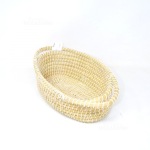 Vestino Ovale Intrecciato Filo Bianco Con Manici 20x36 Cm