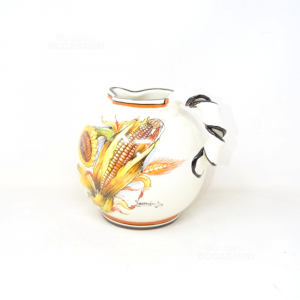Ceramic Jugs With Handle Arricciato With Drawn To Corn And To Sunflower