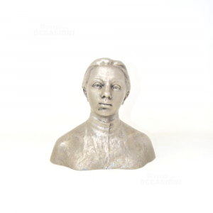 Oggetto In Metallo Raffigurante Donna Con Capelli Raccolti Anno 1969