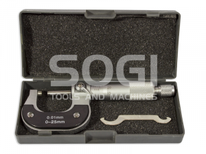 MICROMETRO CENTESIMALE PER ESTERNI DA 0 A 25 mm SOGI TERMINALI CROMATI MIC-0-25 CALIBRO ESTERNI