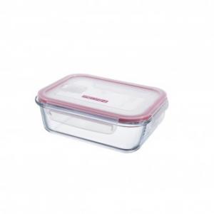 Pedrini Contenitore in Vetro Ermetico Trasparente 800 ml Rettangolare con Coperchio Rosa Trasparente per Alimenti