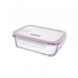 Pedrini Contenitore in Vetro Ermetico Trasparente 1500 ml Rettangolare con Coperchio Rosa Trasparente per Alimenti