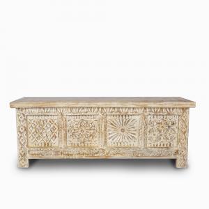 Baule white wash in legno di palissandro indiano con intagli