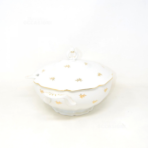 Ceramic Tureen White With Loghi Gold Plated,height 25 Cm