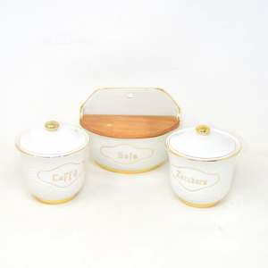 Service Ceramic Salt Coffee And Sugar With Borders Gold (defect Su To Jar)