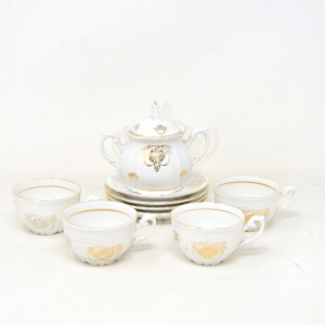 4 Ceramic Cups With Sugar Bowl Korok Bordo Gold -