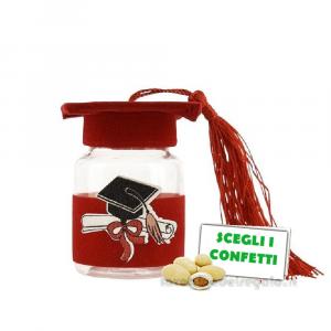 Barattolino portaconfetti laurea Tocco Rosso 4x4x6 cm - Contenitori bomboniere laurea