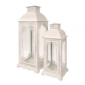 Vea Set di 2 Lanterne Nairi Bianche Con Decorazioni Apertura Laterale In Metallo Antichizzata Sbiancata