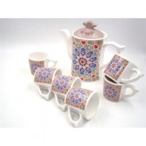 Sud Import SRL Marrakech Set per Caffè con 6 Tazze e Caffettiera In Ceramica Decorato Con Stampa Orientale