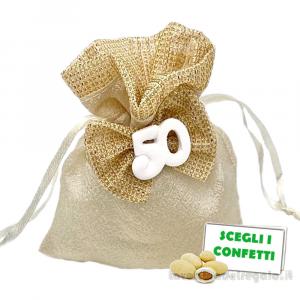 Portaconfetti Oro con fiocco 50° Anniversario 9x11 cm - Sacchetti nozze d'oro