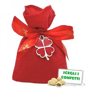 Portaconfetti Rosso con quadrifoglio 10x13 cm - Sacchetti laurea