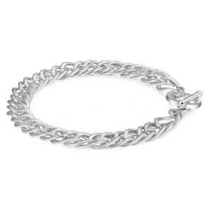 Bracciale CHUNKY in acciaio, catena grumetta intrecciata