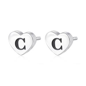 Orecchini CLICK in acciaio, lettera C, con smalto