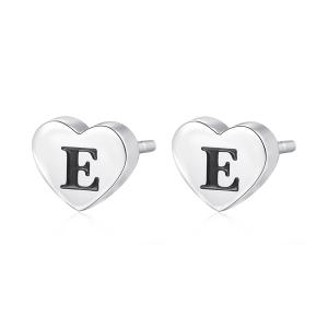 Orecchini CLICK in acciaio, lettera E, con smalto