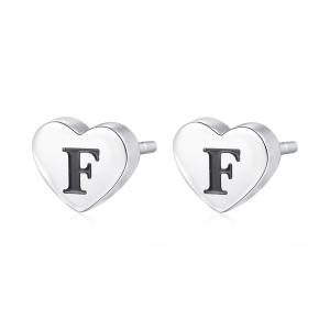 Orecchini CLICK in acciaio, lettera F, con smalto