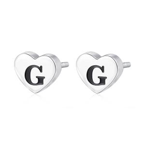 Orecchini CLICK in acciaio, lettera G, con smalto