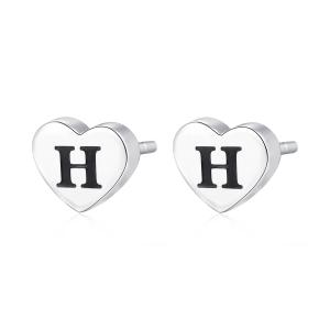 Orecchini CLICK in acciaio, lettera H, con smalto