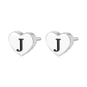 Orecchini CLICK in acciaio, lettera J, con smalto