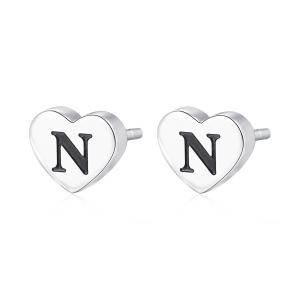 Orecchini CLICK in acciaio, lettera N, con smalto