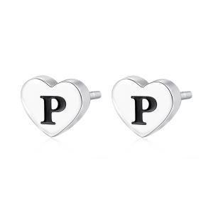 Orecchini CLICK in acciaio, lettera P, con smalto