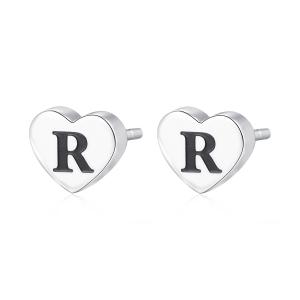 Orecchini CLICK in acciaio, lettera R, con smalto