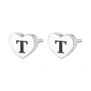 Orecchini CLICK in acciaio, lettera T, con smalto