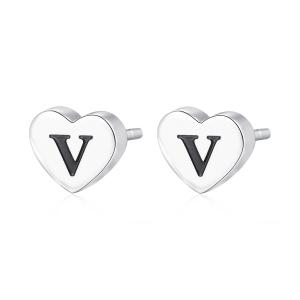 Orecchini CLICK in acciaio, lettera V, con smalto