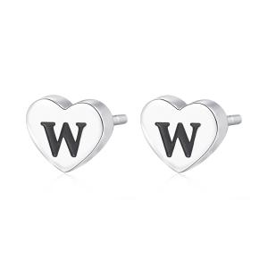 Orecchini CLICK in acciaio, lettera W, con smalto