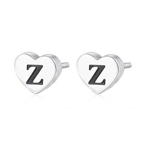 Orecchini CLICK in acciaio, lettera Z, con smalto