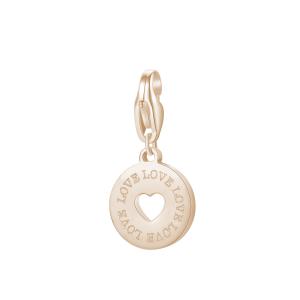 Ciondolo HAPPY acciaio, finitura oro rosa a forma di medaglia