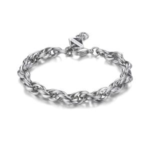 Bracciale RIPPLE in acciaio lucido, catena forzatina