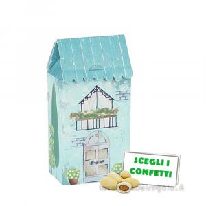 Portaconfetti Casa grande Celeste Dolce City 5x3x10.5 cm - Scatole battesimo bimbo