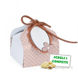 Portaconfetti Tortora con targhetta 5x5x7.5 cm - Scatole comunione e matrimonio