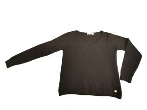 Maglioncino donna in lana e viscosa | colore nero | scollo a V | made in Italy-2