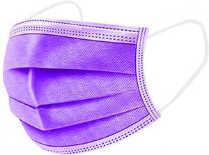 Mascherina chirurgica adulto viola/rossa - Confezione da 10 pezzi