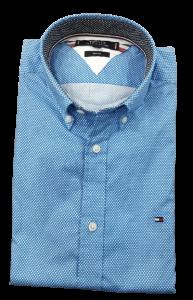 Camicia uomo microfantasia azzurra btd vestibilità slim fit tommy hilfiger