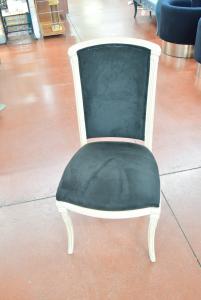 6 Sedie In Legno Con Rivestimento In Velluto Blu Notte