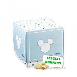Portaconfetti Mickey Mouse Stars Celeste 9x9x9 cm - Scatole battesimo bimbo