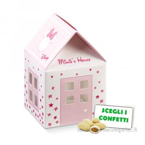 Portaconfetti Casetta Rosa Minnie Stars 5.5x5.5x5 cm - Scatole battesimo bimba