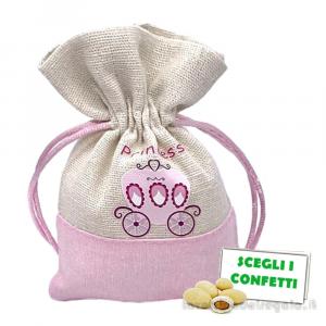 Portaconfetti Rosa con carrozza 9.5x13 cm - Sacchetti battesimo bimba