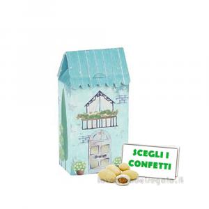 Portaconfetti Casa piccola Celeste Dolce City 3.5x2.3x7 cm - Scatole battesimo bimbo