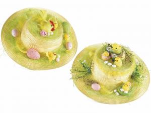 Set 2 cappello in paglia con decorazioni Pasqua