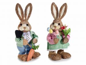Coppia coniglietti in fibra naturale con ovetti e carota
