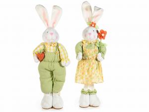 Coppia conigli decorativi in stoffa con vestito