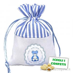 Portaconfetti Celeste con orsetto 9.5x13 cm - Sacchetti battesimo bimbo
