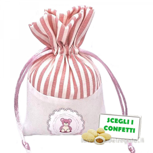 Portaconfetti Rosa con orsetto 9.5x13 cm - Sacchetti battesimo bimba