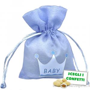 Portaconfetti Celeste con corona 9.5x13 cm - Sacchetti battesimo bimbo