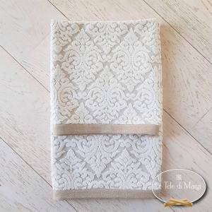Asciugamani cotone e lino arabesco